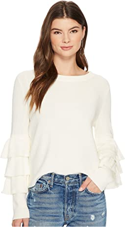 1.STATE - Long Sleeve Tiered Ruffle Sleeve Sweater