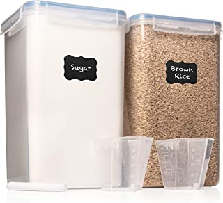 XXL 7 qt / 6.5 L Food Storage Airtight Pantry Containers [Set of 2] WIDE & DEEP + FREE 2 Measuring Cup + 18 Labels & Marker Ideal for Sugar, Flour - Clear Plastic - Leakproof - BPA Free
