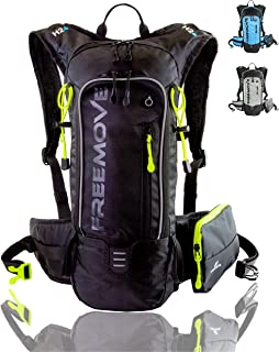 FREEMOVE Hiking Daypack Camelback Backpack,  10L Capacity,  Many Compartments,  Detachable Phone Pocket,  Ideal for Hydration Pack,  Lightweight,  Comfy for Hiking,  Running,  Cycling,  MTB