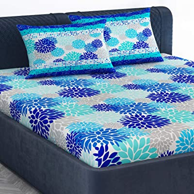 Divine Casa 100% Cotton Floral Print King Bed Sheet with 2 Pillow Covers for King Size & Double Bed, Navy Blue & Blue