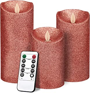 """YINUO LIGHT Rose Gold Glitter Candles, Real Wax Flameless LED Pillar Candles Battery Operated 4"""" 5"""" 6 """" Set of 3 with Remote and Timer"""