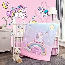 La Premura Unicorn Baby Nursery Crib Bedding Set for Girls – Baby Unicorn & Rainbows 3 Piece Standard Size Crib Bedding Se...
