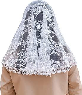 White Floral Lace Vintage Inspired Lace Chapel Veil Scarf Mantilla Wrap Shawl
