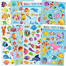 Fishes and more Horiechaly Stickers for kids 20 Different sheets cartoon 3D Puffy Stickers 1000 Stickers for Teachers Including Animals Cakes Marine Creature Dinosaur Foods Cars Transportation