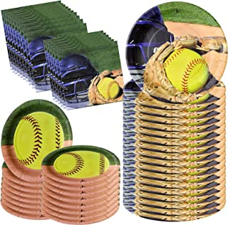 Havercamp Girl's Softball Star Bundle for 16 | Large Napkins & Plates | Great for Fastpitch, Athlete and Varsity Events