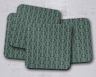 Posavasos de diseño art nouveau verde oscuro y blanco, posavasos individuales o juego de 4