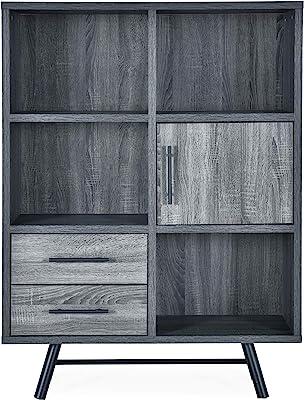 Christopher Knight Home Sylvia Modern Industrial 6 Shelf Multi-Functional Cabinet, Sonoma Oak + Black