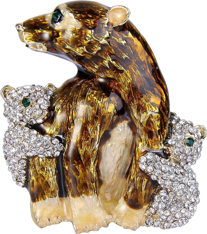 EVER FAITH Cute Animal Jewelry Family Brown Enamel Fees free!! Arlington Mall Crystal Bear