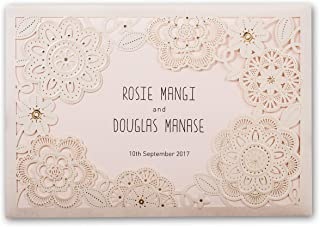 Wishmade 50X Ivory Laser Cut Wedding Invitations Kit With RSVP Cards Pink Inner Sheets and Envelopes For Engagement Bridal Shower Baby Shower Birthday Party