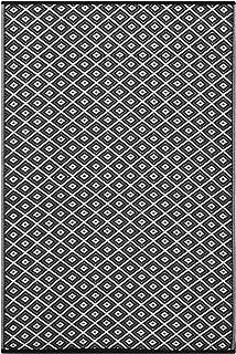 Lightweight Outdoor Reversible Plastic Rug Arabian Nights (6 x 9, Black/White)