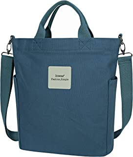 Iswee Canvas Tote Bag for Women Casual Shoulder Work Bag Crossbody Top Handle Bag Shopping Handbags for Women