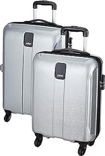 Safari Thorium Stubble Combo Set of 2 Silver Small, Medium Check-in 4 Wheel Hard Suitcase