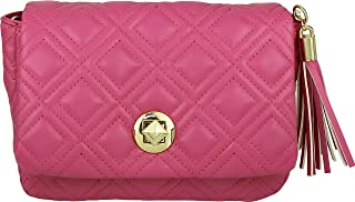 B BRENTANO Vegan Quilted Flap-Over Crossbody Bag with Chain Strap and Tassel Accent