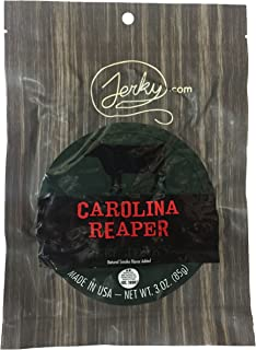 Jerky.com's Carolina Reaper Beef Jerky, Hottest Jerky in the World, 12g of Protein, All-Natural Keto Diet Snack, No Added Preservatives, 3 oz. Bag