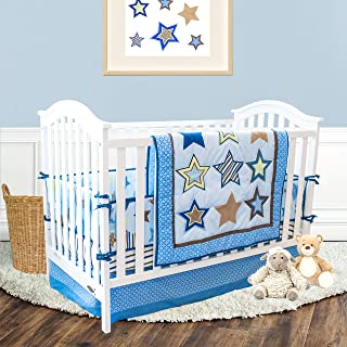 The Lucky Baby Boutique Twinkle Star Crib Bedding Set for Boys - 4 Pieces Nursery Bedding in Blue