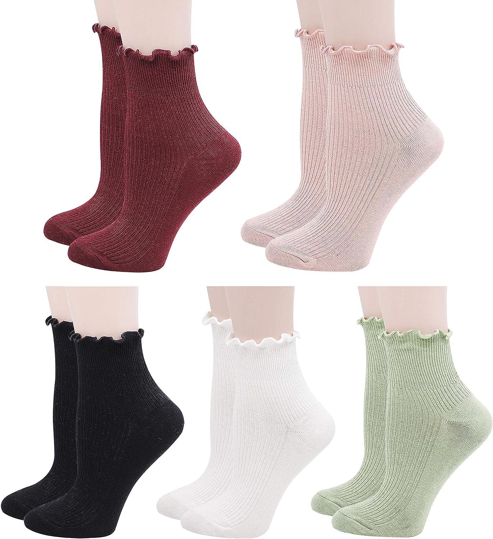 Lovful 5 Pack Ankle Socks for Women, Ruffle Cuff Cotton Crew Socks, Frilly Knit Lettuce Cute Low Cut Socks