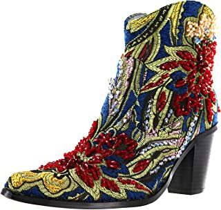 Couture Brocade Tapestry Ankle Boots with Hand Wen Crystals (LB-JK-S809 / LB-JK-S900)