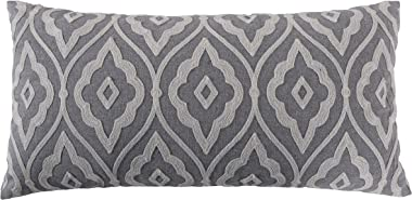 Levtex home - Tamsin Grey - Decorative Pillow (12X24in.) - Embroidered Trellis - Grey and Off White