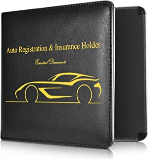 Car Document ID with Strong Magnetic Black starter Slim Thin Leather Wallet Holder for Auto Car Insurance Registration Credit Card ID Driver License