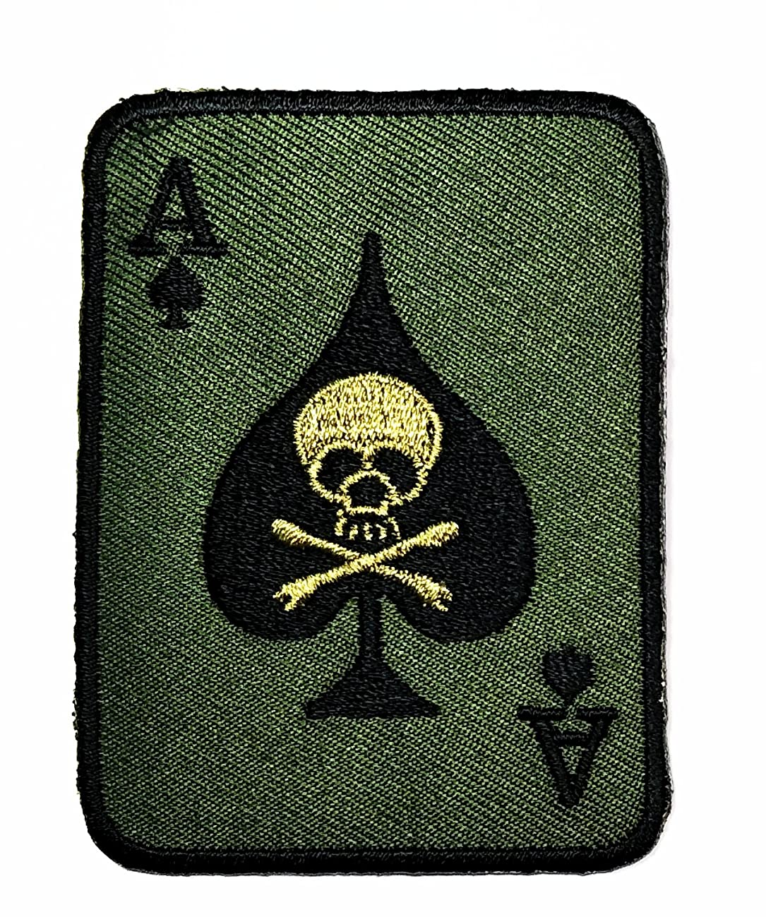 HHO Skull ACE of Spades Death Skull Card Patch Green Patch Embroidered DIY Patches, Cute Applique Sew Iron on Kids Craft Patch for Bags Jackets Jeans Clothes