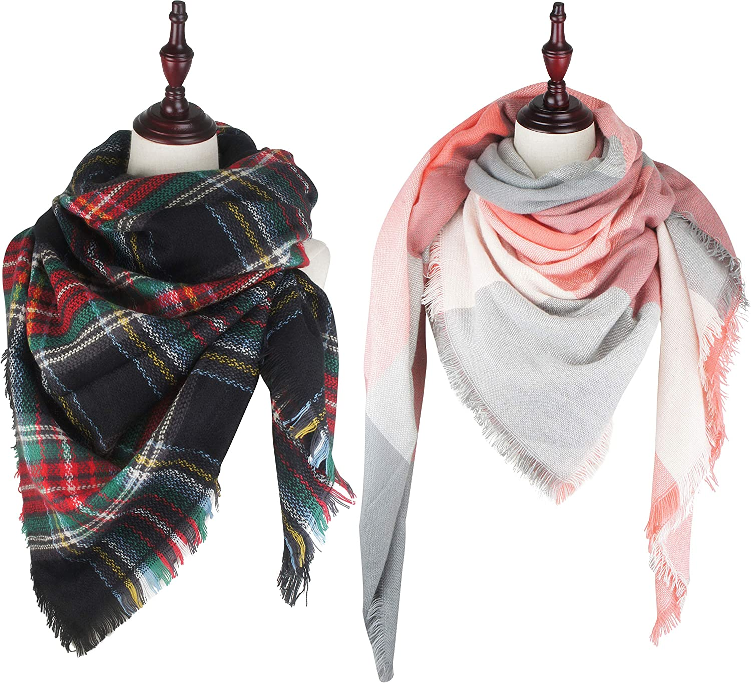 VIVIAN & VINCENT 2 Pack of Soft Classic Luxurious Blanket Tartan Square Scarf Wrap