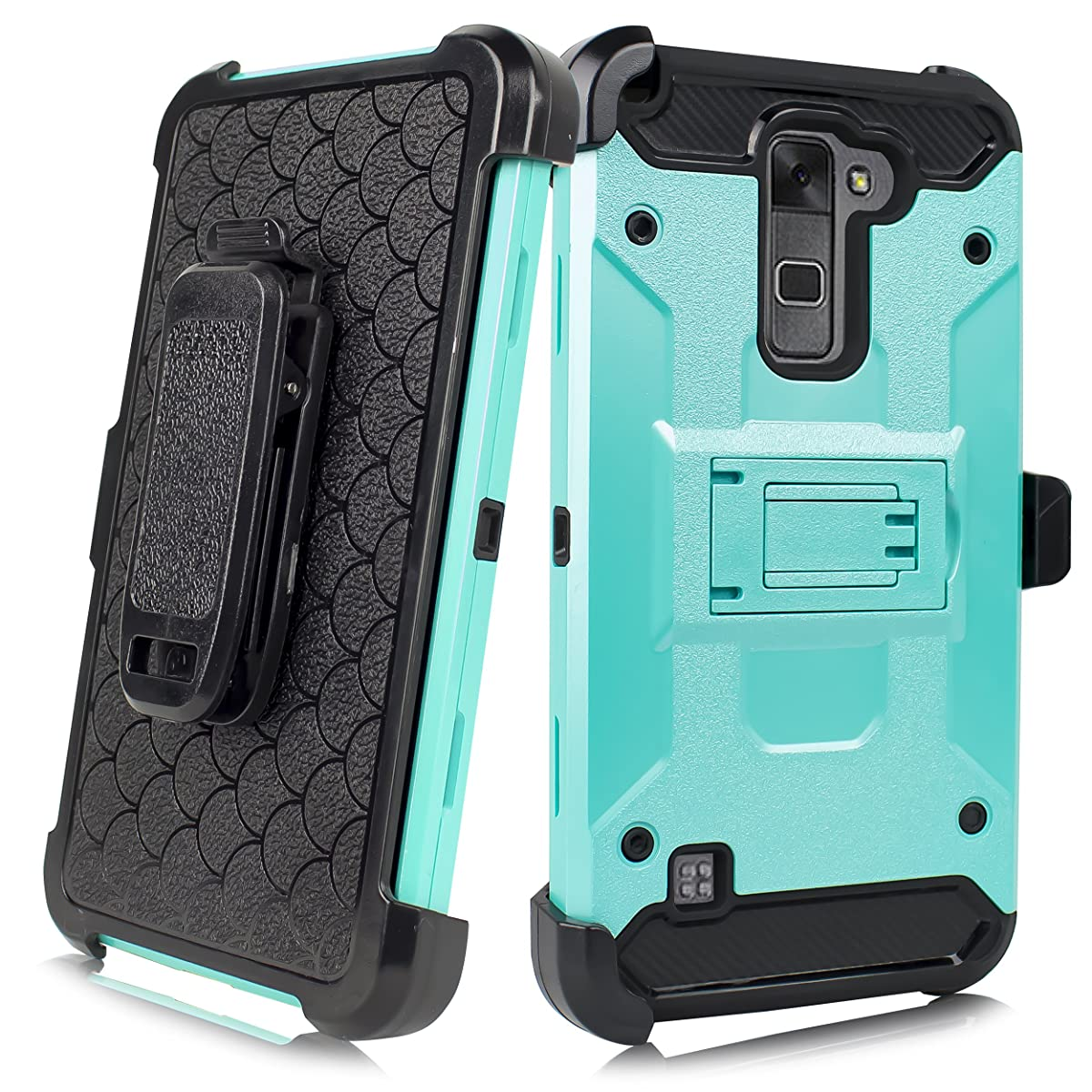 LG Stylo 2/ Stylus 2 LS775 5.7' (Boost Mobile, Virgin Mobile, Cricket) Duo Defense Drop-Proof Heavy Duty Full Body Rugged Holster Armor Combo Case [Belt Swivel Clip & Kickstand] (Teal)