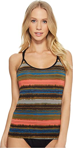 Jantzen - Printed Shadow Stripe Multi-Strap Back Tankini