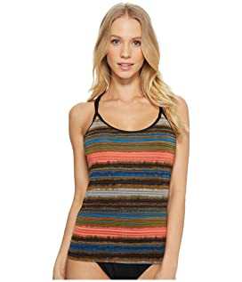 Printed Shadow Stripe Multi-Strap Back Tankini