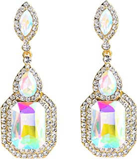 BriLove Womens Wedding Bridal Crystal Emerald Cut Infinity Figure 8 Chandelier Dangle Earrings