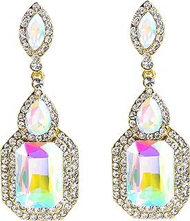 BriLove Womens Wedding Bridal Crystal Emerald Cut Infinity Figure 8 Chandelier Dangle Earrings