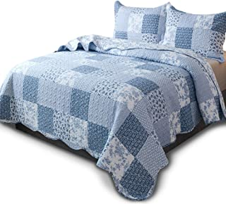 KASENTEX Country-Chic Printed Pre-Washed Quilt Set - Microfiber Fabric Quilted Pattern Bedding (Multi-Blue A, King + 2 Shams)