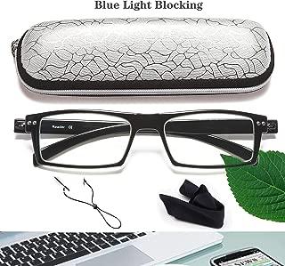 Blue Light Blocking Reading Glasses -2.0 Reader Eyeglasses Clear Cases Soft Readers Reading Glasses Wide Women Men