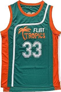 Flint Tropics Jackie Moon #33 Coffee Black #7 Semi Pro Basketball Jersey Green White