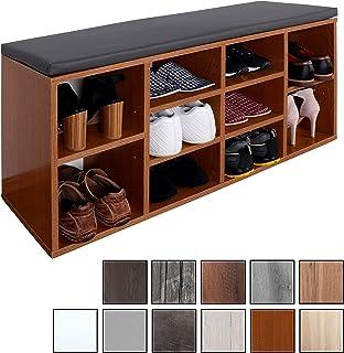 RICOO WM033-ER-A, Banco Zapatero, 104x49x30cm, Armario Interior con Asiento, Organizador Zapatos, Mueble recibidor, Perchero, Madera Roble rústico