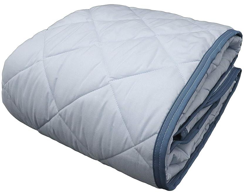 被る四柔らかいCAMEL PALMS 日本製 綿平織り 敷パッド ワイドキング シングル2枚分 200×205cm 防ダニ 抗菌防臭中わた ペールブルー