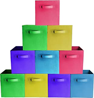 [10-Pack,Bright Mix Colors] Durable Storage Bins, Containers, Boxes, Tote, Baskets  Collapsible Storage CubesHousehold Organization   Fabric & Cardboard  Dual Handle   Foldable Shelves Storages