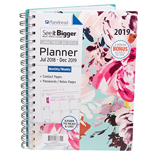 PlanAhead See It Bigger 2019 Planner - Assorted Colors (9.1 x 6.8 x 0.8 inches)