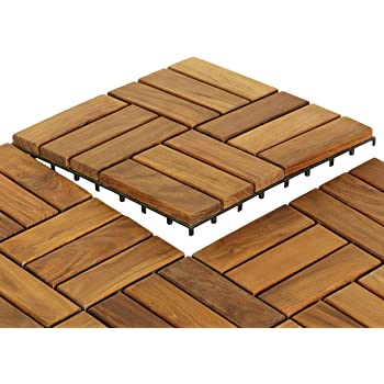 Flesser Deck Tiles 12x12 Interlocking Outdoor Composite Wood Tiles,Pack of 10
