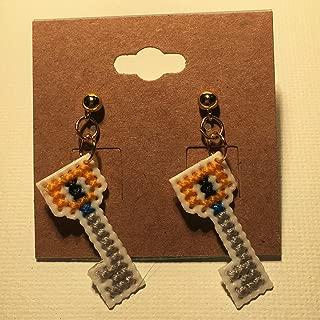 Kingdom Hearts Keyblade Cross Stitched Earrings