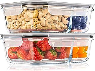 Pack 2 Recipientes de Cristal para Alimentos, 2 Compartimentos Herméticos, Tamaño XL 1040ml - Recipiente Cristal sin BPA para comidas - Meal Prep Comidas, Conservación, Congelación Alimentaria
