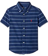 Polo Ralph Lauren Kids - Indigo Plain Weave Short Sleeve Button Down Top (Toddler)