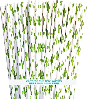 Cactus Themed Paper Straws - Green White Succulents - 100 Pack