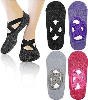 Calcetines de Yoga 4 Pares Calcetines Antideslizantes para Yoga Pilates Ballet Barre Mujer 4 Colores