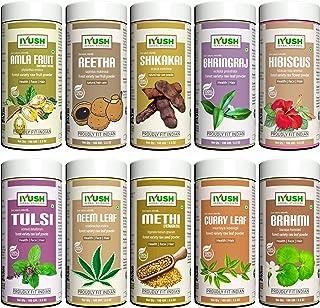 IYUSH Herbal Ayurveda Amla, Reetha, Shikakai, Bhringraj, Hibiscus, Curry Leaf, Brahmi, Tulsi, Neem and Methi Powder Hair T...
