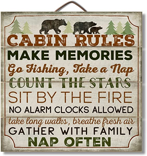 Highland Graphics 12 Wood Sign Cabin Rules With Bear Wall D R Multi