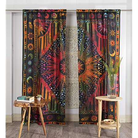 Burning Sun Hippie Gypsy Window Treatments /& Valance Mandala Tapestry Curtain