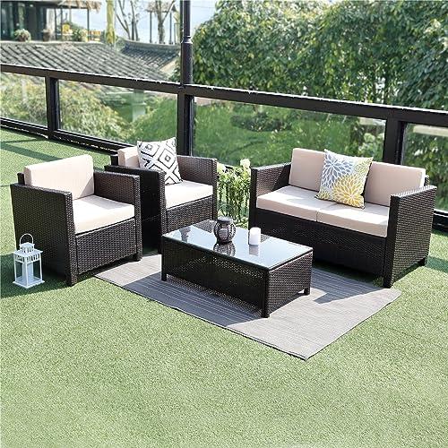 Miraculous Wicker 5 Piece Patio Furniture Sets Amazon Com Download Free Architecture Designs Scobabritishbridgeorg