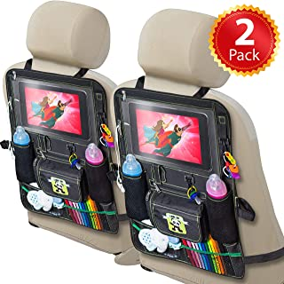 2 Pack Backseat Car Organizer for Kids, Babies and Toddlers, with Tablet Holder by iPad Touch Screen, Fit to Baby Stroller...