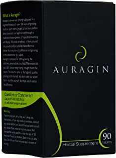 Auragin® Authentic Korean Red Ginseng – Made in Korea – 6 Year Roots – No Additives or Other Ingredients – 100% Red Panax Ginseng in Every Tablet