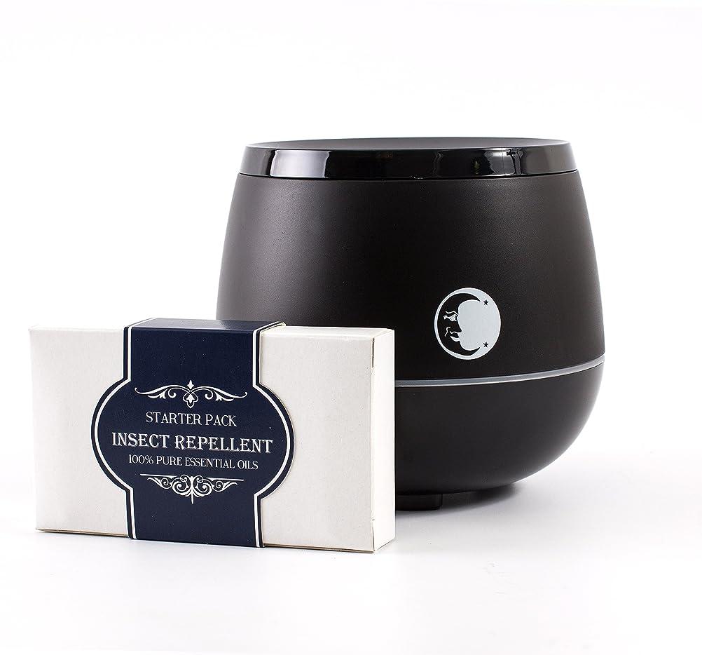 剪断修理工遺棄されたMystic Moments | Black Aromatherapy Oil Ultrasonic Diffuser With Bluetooth Speaker & LED Lights + Insect Repellent Essential Oil Gift Starter Pack